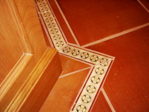 Floor detail around island