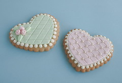 Heart cookies (cakejournal) Tags: pink green cookies hearts cookie teal decorate sugarcookies embossing mmf embossedcookies