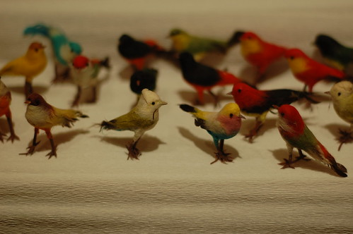 faux birds flock