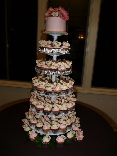 Chocolate and pink wedding cake