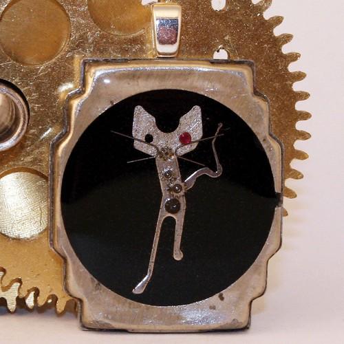 Steampunk Jewelry Cat Pendant
