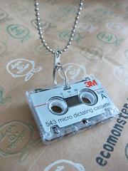 mini cassette tape necklace (Eco_Monster) Tags: music necklace mini retro tape record hip hop etsy recycle cassette upcycle ecomonster