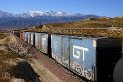 GT Boxcars On Cajon Pass (greenthumb_38) Tags: railroad blue snow grafitti cajon cajonpass sangabrielmtns hill582 gtrr