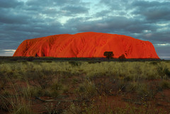 Uluru at sunset (Richard.Fisher) Tags: world park sunset red heritage rock site bush nikon desert bright biosphere australia center unesco national uluru kata tjuta 1855mm nikkor too northern ayers probably reserves territory possibly yulara d80