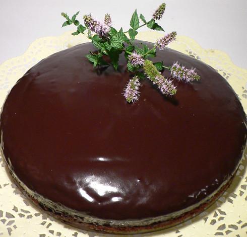 Schokoladekuchen mit einem Hauch Minze