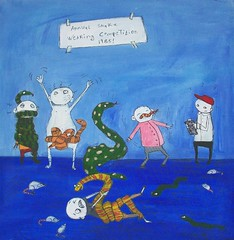 Annual Snake Wearing Competition 1985! (Knottwood) Tags: original silly painting funny acrylic bright humourous