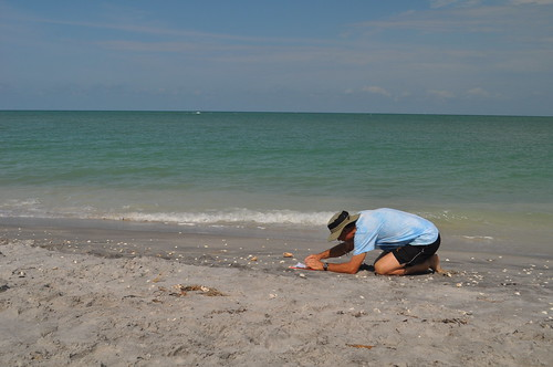 Dr. Beach Measures Slope at Stump Pass, North of Palm Island Resort on Knight Island, Fla.