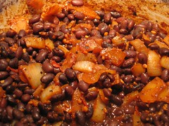Beer-cooked black beans