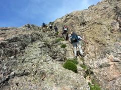 Crêtes de Marignana : passage raide du sentier de la mine de fer