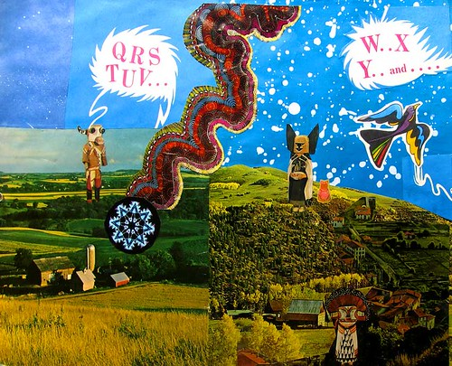 LARRY CARLSON, W.X.Y., collage on paper, 14inX11in, 2010.