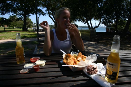 Fish 'n chips 'n Coronas in Watsons Bay, Sydney.