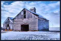 Corn Crib and a Barn (Rascaille Rabbit) Tags: snow windmill barn illinois windmills february corncrib mcleancounty diamondclassphotographer flickrdiamond mcleancountyillinois