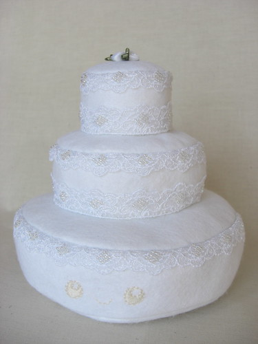 The Wedding Cake Softie Made from felt lace and lots of stitches
