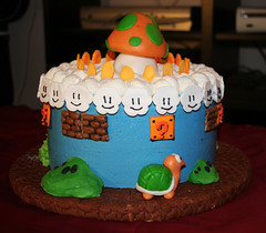 1 Up Super Mario Bros. cake (mandrake68) Tags: world birthday game cute cake clouds video coin nintendo mario 11 pete icing vanilla rockwell 1up bros fondant buttercream koopa sugarcade