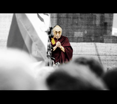 the Dalai Lama at the Brandenburg Gate