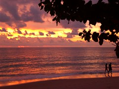 Khao Lak Beach Sunset (Tiensche) Tags: sunset beach beautiful clouds thailand couple holidays empty romantic stroll khaolak beachwalk handinhand romanticcouple romanticsunset