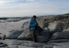 knitting on a north uist beach