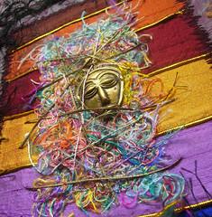 Detail Let them talk 6 (Karen Cattoire) Tags: original art colorful handmade embroidery originalart creation fabric fiberart beading textileart tissu abstrait textiledart karencattoire fibretextile arttexilte