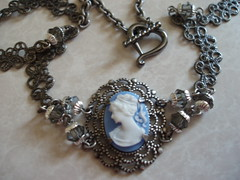 Cameo Necklace (shadow.glitters) Tags: blue ladies girls lady silver necklace victorian jewelry crescent moms gift cameo links plated antiqued
