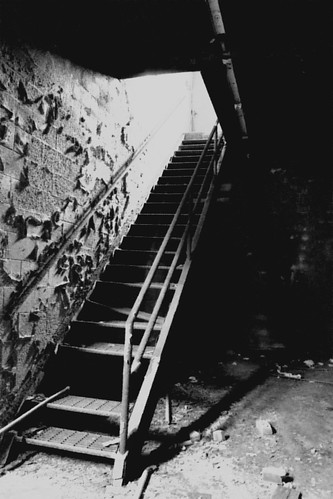 Metal Stairwell in Abandoned Factory - B&W_IMG_3026