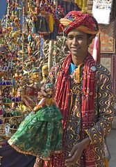 At Dilli Haat (Koshyk) Tags: smile shop handicraft colorful folkart crafts friendly frock shawl turban ethnic dilli dillihaat delhihaat rajasthanishopkeeper