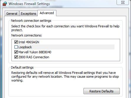 ICS disable loopback firewall