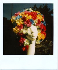 He's Gone (Lady Vervaine) Tags: uk flowers england flower colour reflection london film mannequin window face reflections hair polaroid thought britain head dream thoughtful gone dreaming 600 dreams hairdresser reflective dreamy colourful melancholy absent slr680 wistful reverie primaries absence glasvegas daddysgone