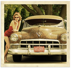 Me and Penny- Old School (Theresa Thompson) Tags: color me sunglasses vintage cadillac retro explore 1950s swimsuit cateye pennycar artlibre