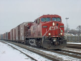 Canadian Pacific transfer train. Franklin Park Illinois. January 2007.