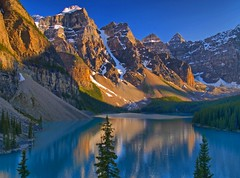 Cool Blue II (Matt Champlin) Tags: blue camping sunset lake canada mountains color rockies hiking lakes glacier alberta banff e300 alpen moraine silt banffnationalpark morainelake canadianrockies coolblue olyumpus anawesomeshot aplusphoto