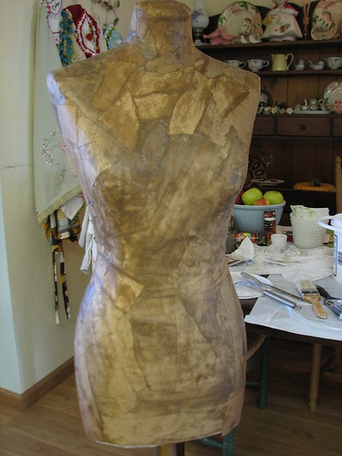 Making a paper mache dress form using my fabric form as a mold