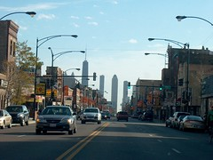 Looking east on West Chicago Avenue near the intersection of North Ashland Avenue. Chicago Illinois. October 2006.