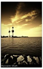 Kuwait: Kuwait Towers [Sepia] (Hussain Shah.) Tags: city sepia d50 nikon towers sigma kuwait 1020mm polarizer shah hussain aplusphoto