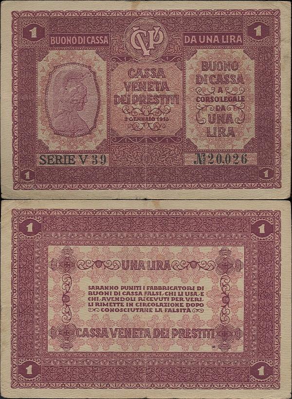 Italy 1918, 1 Lira - Pick M4