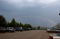Full Rainbow (random letters) Tags: camping weather wisconsin rainbow parkinglot lakemichigan 2008 wi doorcounty washingtonisland ferrylanding doorcountywi wisconsinstateparks