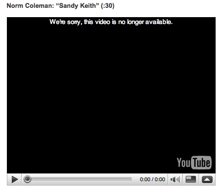 Missing Sandy Keith Ad from Norm Coleman Campaign