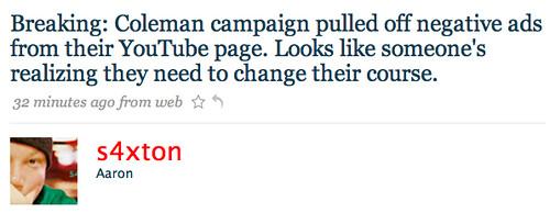Norm Coleman Pulls Negative Ads