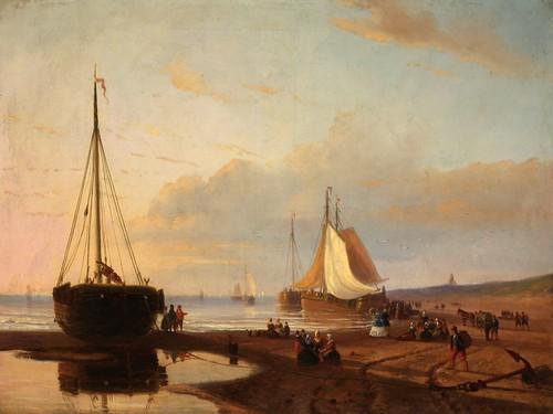 """Beach Scene With Ships"""