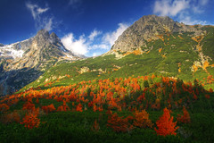 Tatra (keszi) Tags: blue trees red orange mountain snow tree green rock stone clouds forest trek europe tour saturation slovakia tatry tatra vysok abigfave keszi