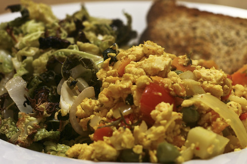 Scrambled Tofu with Roasted Cabbage and Chive Bread