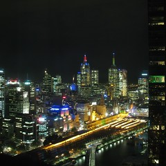 Flinders St. Station from the top. ([Jongky]) Tags: bridge windows sky building window glass station yellow train buildings river gold golden shot nightshot top melbourne trainstation yarra lamps nite flinders flindersst yarrariver niteshot refflection