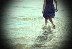 Runaway ({peace&love}) Tags: ocean old lauren beach water girl dress running flashback vignette splashing pinkparis1233