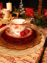 Holiday Cheer (:KayEllen) Tags: china fabric script teacup decor placesetting tabletop coloredglass speakingevent layeringplates