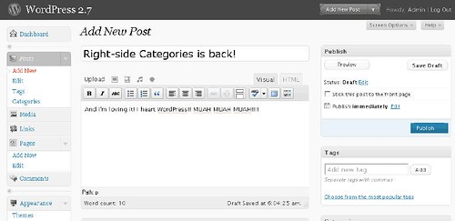 Write Post function in WP 2.7