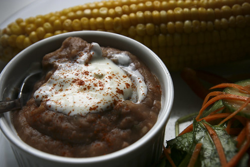 Refried Pinto Beans with Salad and Corn