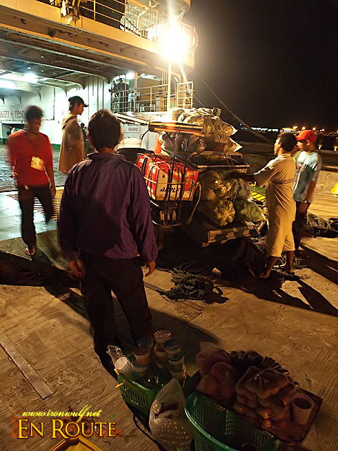 Other goods and cargo being borded in the ferry