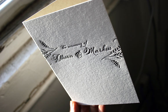 Letterpress wedding program cover - Haddington design, by Smock