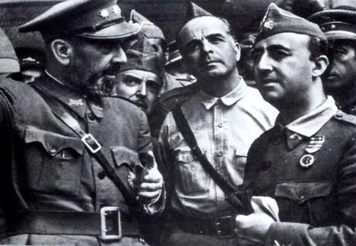 Varela,  Moscardó y Franco tras conquistar Toledo