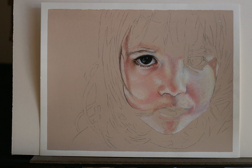 Photo of as yet untitled colored pencil drawing of my daughter.