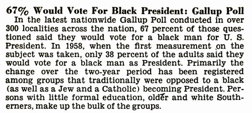 Black President, Gallup Poll, 1969